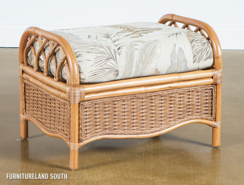 Image of Wicker / Rattan Ottoman with Cushion