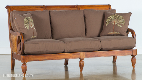 Image of Wood Frame Sofa with Cushions