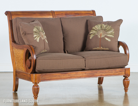Image of Wood Frame Loveseat with Cushions