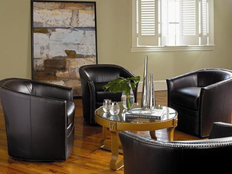 Century Furniture - Leather Swivel Chair - PLR-5101-SLATE