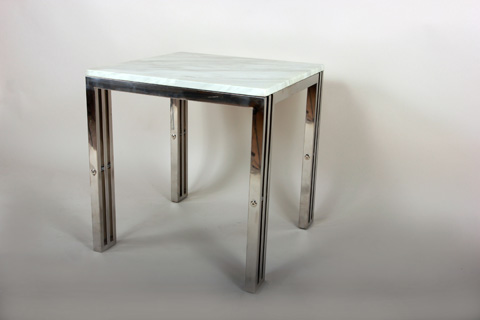 Control Brand - Carrara Marble End Table Stainless Steel Frame - FHT05SSMBL