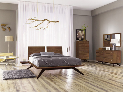 Copeland Furniture - Astrid Bed without Headboard - Walnut - 1-AST-02-14