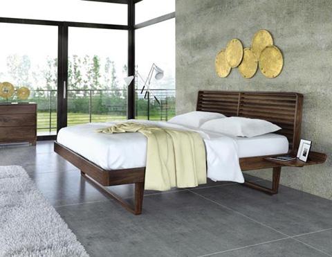 Copeland Furniture - Contour Bed with Left Shelf - Walnut - 1-CTR-12-04