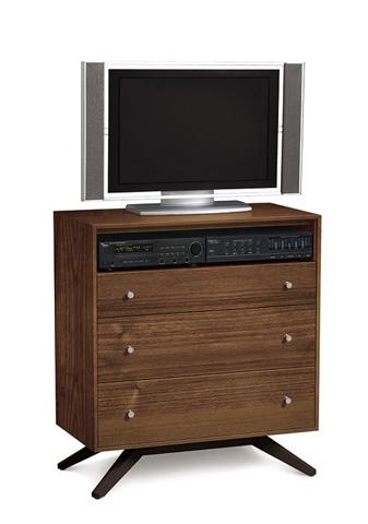 Copeland Furniture - Astrid 3 Drawer TV Organizer - Walnut - 2-AST-35-14