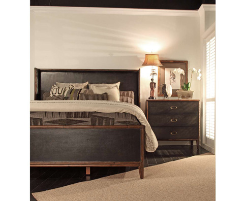 Curate by Artistica Metal Design - Worn Black Canvas King Bed - C404-566