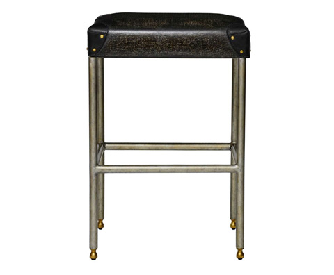 Curate by Artistica Metal Design - Black Canvas Martial Backless Barstool - C407-045