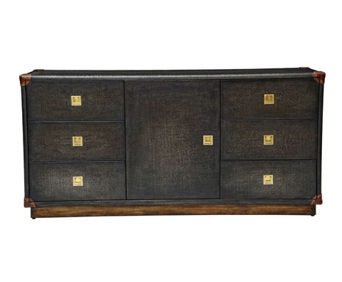 Curate by Artistica Metal Design - Black Canvas Martial Widescreen Credenza - C407-420