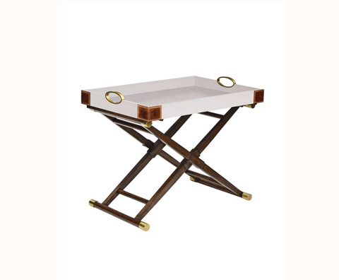 Curate by Artistica Metal Design - Worn Ivory Canvas Martial Hi-Lo Table - C408-310
