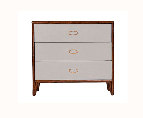 Curate by Artistica Metal Design - Worn Ivory Canvas Three Drawer Chest - C408-410