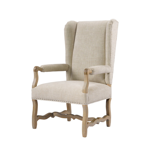 Curations Limited - Belgium Linen Wing Arm Chair - 8826.1100.A015