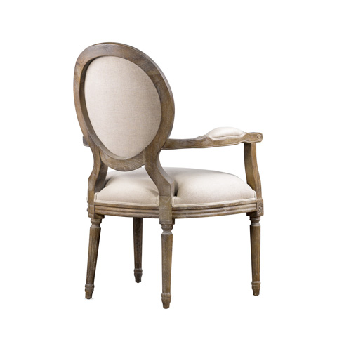 Curations Limited - Beige Vintage Louis Round Arm Chair - 8827.0008.A015