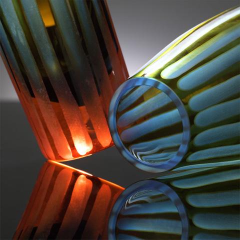 Cyan Designs - Tall Cyan and Orange Striped Vase - 01128