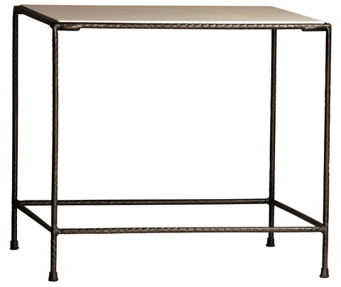 Dovetail Furniture - Iron With Marble Side Table - AN059