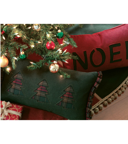 Eastern Accents - Three Plaid Trees Pillow - ATE-212