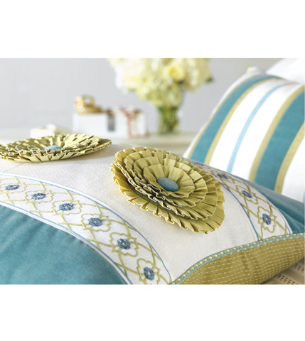 Eastern Accents - Filly White Insert Pillow with Rosettes - BRS-02