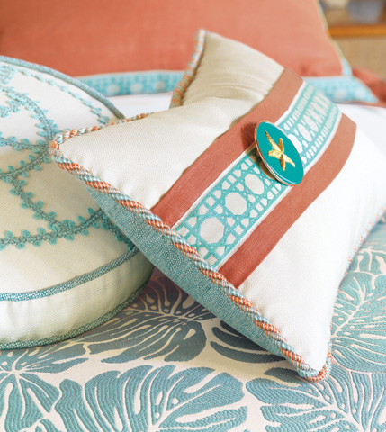 Eastern Accents - Folly Parchment Pillow With Border - CAP-12