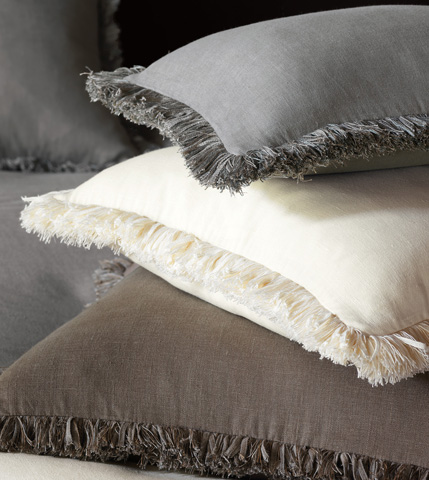 Eastern Accents - Breeze Slate Pillow with Brush Fringe - DPB-304