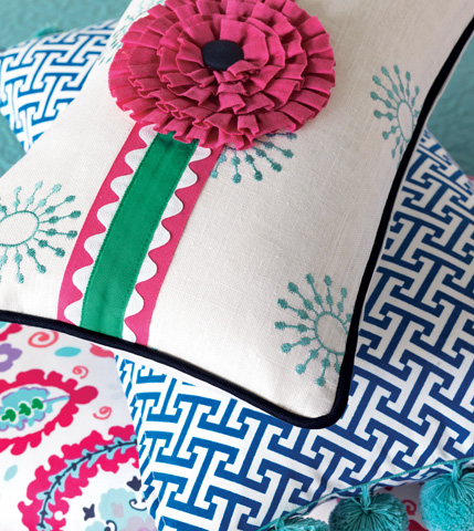 Eastern Accents - Wallace Sky Pillow with Rosette - EPR-11