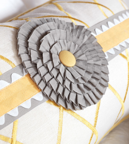 Eastern Accents - Terrace Canary Pillow with Rosette - ESU-11