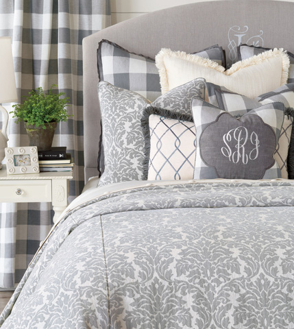 Eastern Accents - Terrace Grey Pillow with Brush Fringe - HMP-06