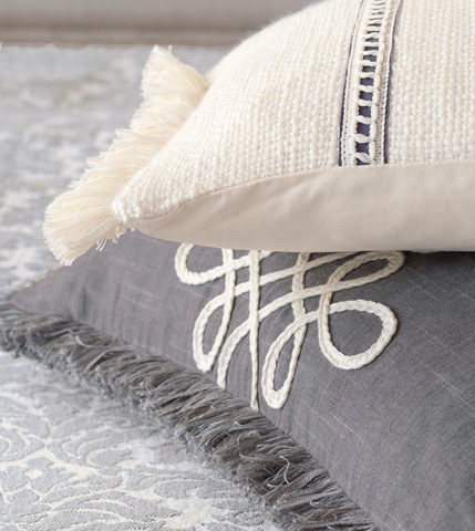Eastern Accents - Portage White Pillow with Trims - HMP-08