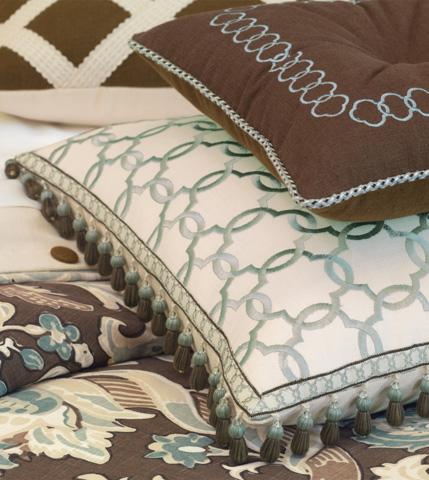 Eastern Accents - Verlaine Ocean Pillow with Beaded Trim - KIR-05