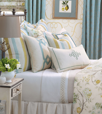 Eastern Accents - Filly White Pillow with Gimp Design - MAG-09