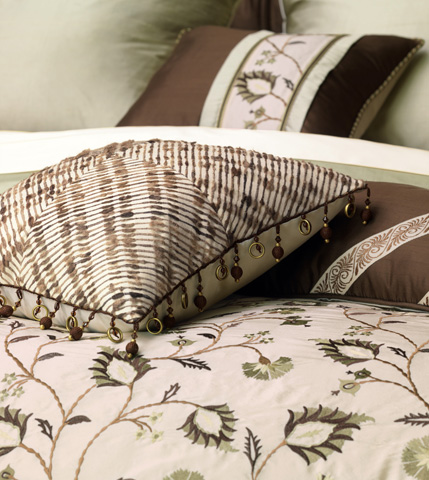 Eastern Accents - Belin Pebble Pillow with Ball Trim - MIC-04