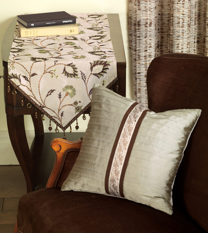 Eastern Accents - Serico Sage Pintucked Pillow - MIC-06