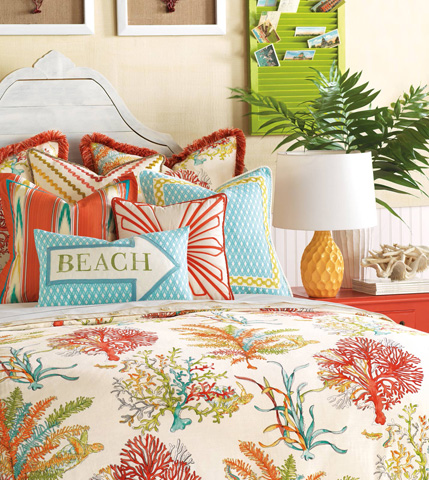 Eastern Accents - Beach Block-Printed Pillow - MLD-07