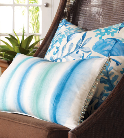 Eastern Accents - Baldwin White Hand-Painted Pillow - OLY-12
