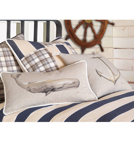 Eastern Accents - Hand-Painted Whale Pillow - RYD-10