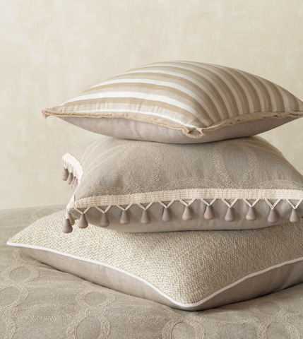 Eastern Accents - Linum Natural Pillow with Butterfly Pleats - SIL-07