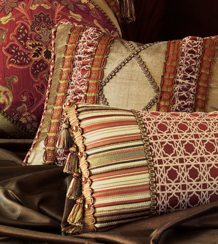 Eastern Accents - Lucerne Gold Pillow with Ruched Inserts - TUL-12