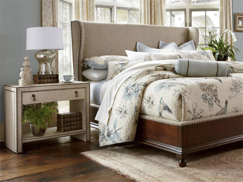 Image of Nailhead and Linen Nightstand