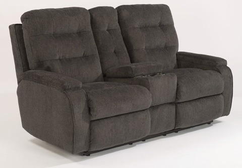 Flexsteel - Fabric Power Reclining Loveseat with Console - 2806-601M