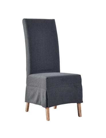 Image of Slate Linen Slip Covered Chair
