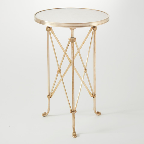 Global Views - Brass & White Marble Directoire Table - 8793