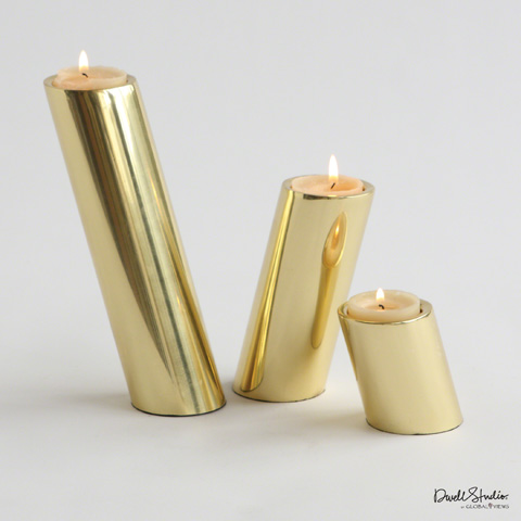 Global Views - Set of 3 Brass Slanted Candleholders - D9.90003