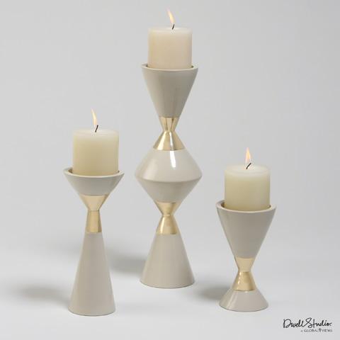 Global Views - Set of 3 Gold Hourglass Pillar Candleholders - D9.90010