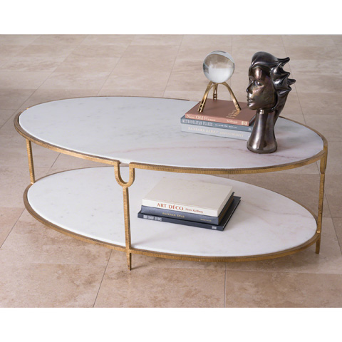 Global Views - Iron and Stone Oval Coffee Table - 9.91786