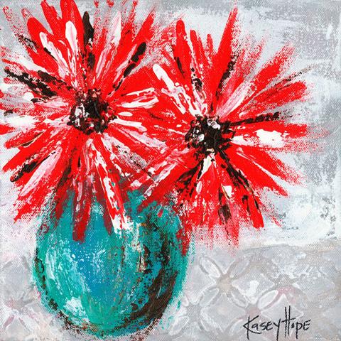 Greenbox Art - Red Flowers on Gray Artwork - NB22011