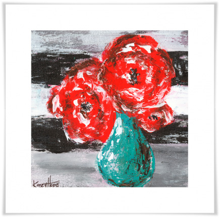 Greenbox Art - Red Flowers on Stripes Artwork - NB22012