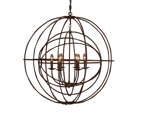 Image of Double Orb Chandelier In Rustic Iron