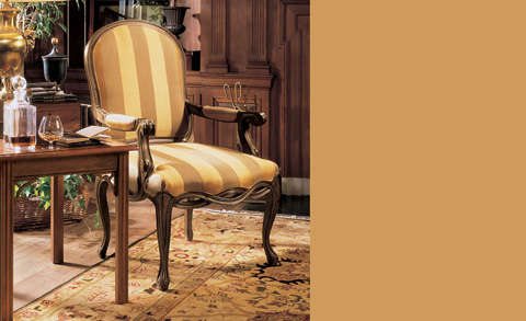 Image of Striped Upholstered Arm Chair