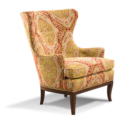Image of Patterned Wing Chair with Nailhead Trim