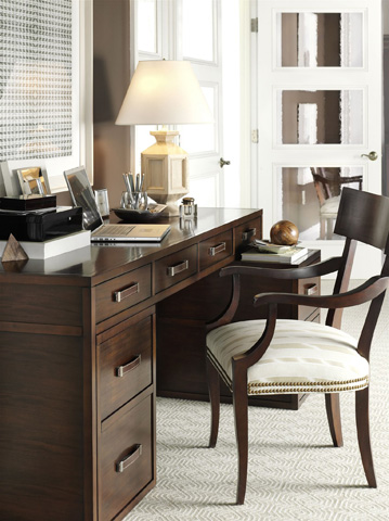 Hickory Chair - Harrison Black Three-Drawer Writing Table - 5393-10