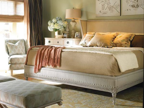 Hickory White - King Upholstered Wing Bed - 635-21