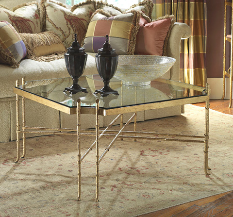 Highland House - Metal Cocktail Table with Glass Top - HH07-603-GA