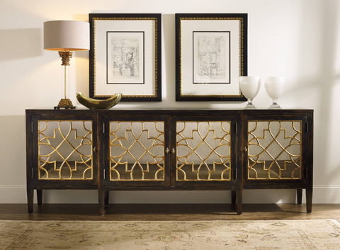 Hooker Furniture - Sanctuary Four Door Mirrored Console in Ebony - 3005-85005
